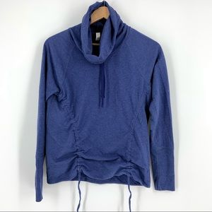 Lucy Lean and Mean Blue Pullover With Cowl Neck